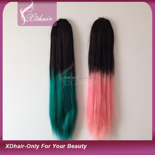 Hot sales human hair ponytail hair extension fashion ombre color human hair ponytail