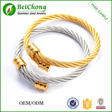 Golden expandable adjustable wire bangle bracelet wholesale