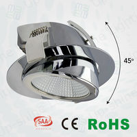CE/RoHS/SAA approved Swiveling 45 degree adjustable cob saa led downlight
