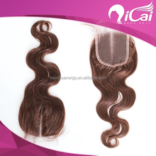 2015 Qicai Hair cheap remy body wave virgin brazilian hair lace closure middle part