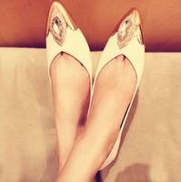 D14675A 2014 LADY CUSP DRILL MATEL WHITE SPRING SUMMER WOMEN FLAT SINGLE SHOES