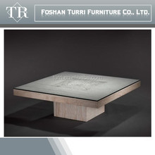 modern hand carved in-lay natural marble square coffee table with glass on top