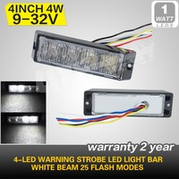 High Power 4-LED White Beam Warning Emergency Strobe 25 Flash Mode LED Light Bar