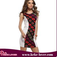 2015 Design Casual Dress For Women Short Mini Women Dress Retro Printing Women Bodycon Dresses Clothing Manufactures In China