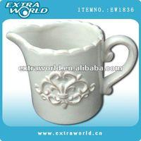 white flower design ceramic milk jug