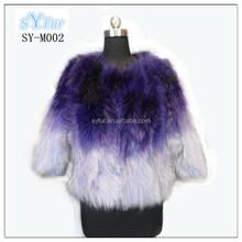 korean style Ladies fox gastrotricha fur short coat with three quarter sleeve in gradual changed colors