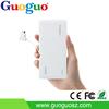Guoguo A grade poratable 2A Output dual usb LED torch 6600mAh ultra thin desktop power bank for ipad