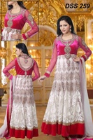White And Pink Heavy Embroidered Anarkali Suit Bridal Anarkali Suit