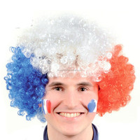 Hot sale best price blue white red color cheer wig