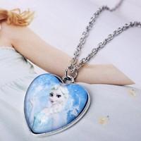 OU6073 wholesale silver jewelry frozen party items,elsa necklace,silver heart necklace