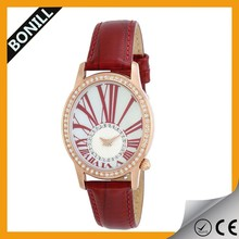 Modern shinny red color concept dial women's diamond stones leather watch
