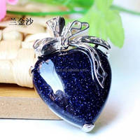 Occident hot sell products blue gold stone heart pendant jewelry/pendant jewelry /big stone pendant jewelry