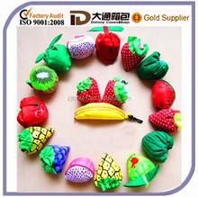 Promotional Fruit Strawberry Cheap Foldable Polyester Portable Wholesale Reusable Folding Shopping Storage Bag