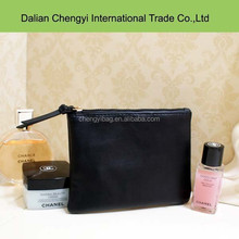 minimalist black pu cosmetic bag , ladies wristlet