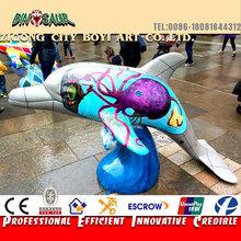 animale artificiale scultura in fibra di vetro colorato a grandezza naturale statua di delfino