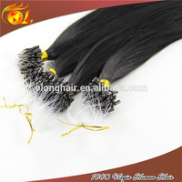 New style tangle free remy kinky curly ombre micro ring loop hair extension