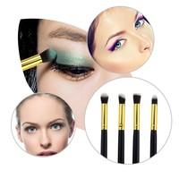 NEW Professional Cosmetic Makeup Brush Tool 4pcs Black Pole Synthetic Hair Eye Shadow Brush Set