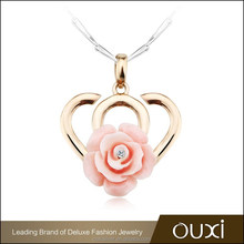 OUXI 925 silver plated & gold plated necklace rose shaped pendant Y30293