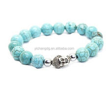 Bead Energy Bracelet With Customize Design, Unisex Nature 10mm Tuquoise Beads With Silver Buddha Head Energy Bracelet