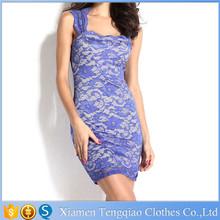 Blue Lace Short scoop U Neck patterns women dress for sex evening Party