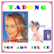 CE ladies fashion clear logo printed plastic rainbonnet,rain hood,rain hats