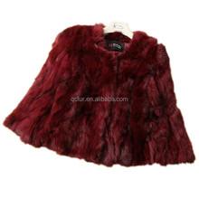 QC2162-6 red 2015 natural real patchwork rabbit fur coat jacket women