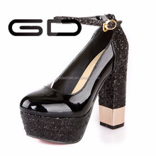 black sexy pub lady steel heel pumps patent leather high heel shoes