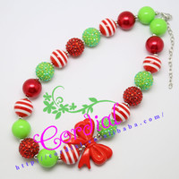 Newest Products Cordial Design Fashion Jewelry Bubblegum Beads Handmade Christmas Bowknot Necklace