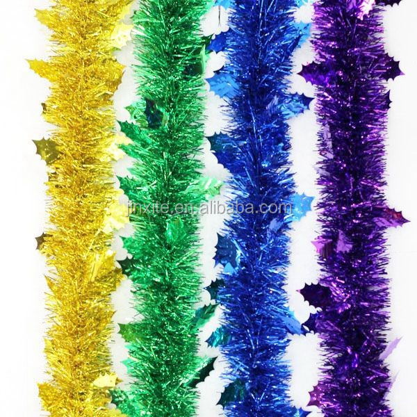 Hot pet pvc christmas decorative tinsel garland wreath