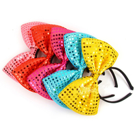 New Fashion light up LED Sequin hair bow hairband Flashing glow headband for party