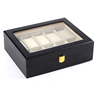 Black matt lacquered wood watch box with glass top