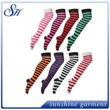 new ladies striped tight knee high womens stripe print pattern stocking