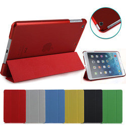 Folding leather cover for iPad Mini 1 2 3, crystal clear back case for ipad mini 1 2 3