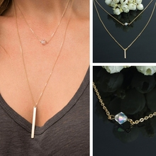 Fashion simple gold Necklace crystal gold bar tassel double layered gold metal alloy thin long chain necklace