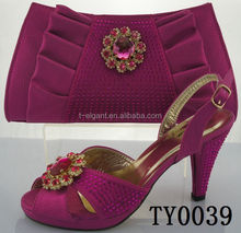 Fushia color italian matching shoes and bag set bridal wedding shoes and bags set