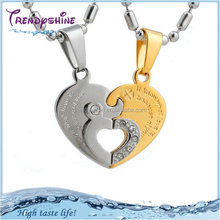 Fashion couple lover's gold heart knot pendant