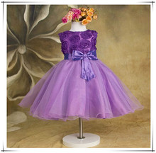 2015 Girls dresses baby Girls Red Rose princess dress Kids Wedding Party Dresses fashion bowknot costume fast ship D69 from GZ