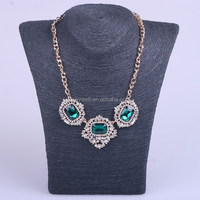 N1034 Oval glass rhinestone pendant jewelry High quality Gun black plated Rose gold Alloy models Fashion white crystal necklace