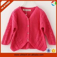 Factory direct sale new design cardigan christmas sweater for kids wear wholesale handmade kids sweaters (ulik-S003)