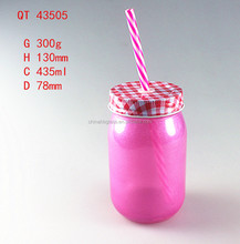 435ml cold drinks glass jar with screw metal cap and straw,colored cold drinks glass bottles for food