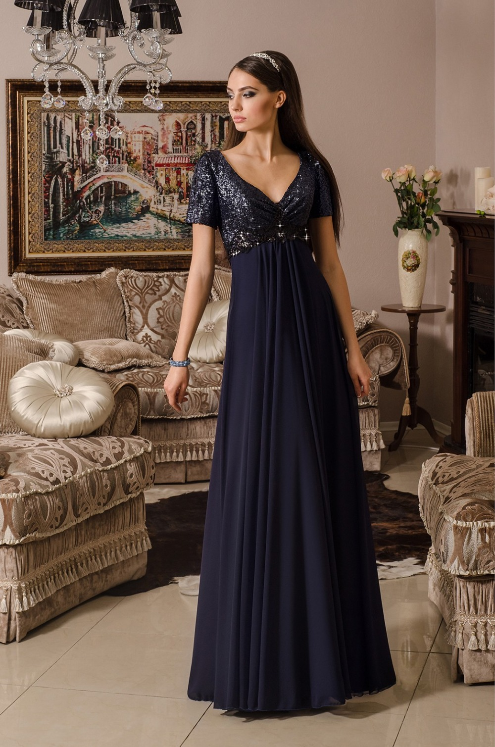 Akd-05 Plus Size Formal Party Evening Gown 2015 Navy Blue Sequins ...