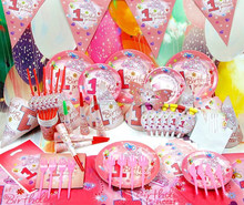 Theme Pink Princess Kids 1st Birthday Party Supplies