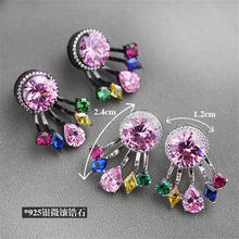 DLY Gorgeous Design Earring Factory China/Pink zircon Earring Colorful Sterling Silver Earrings Jewelry Fashion
