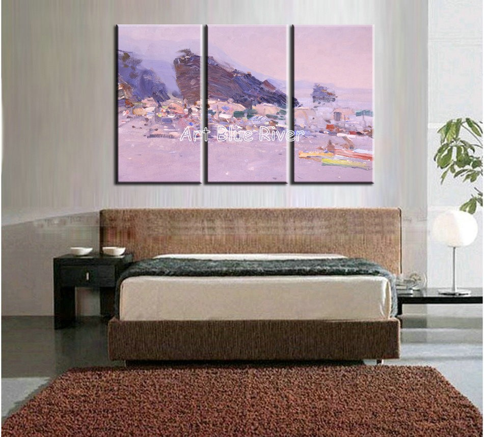 Buy 3 piece muti panel abstract modern canvas wall art handmade drawing pink Knife paint oil painting on canvas bedroom decoration cheap