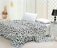 Hot sell cow print coral fleece blanket