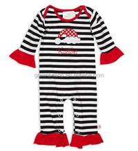 Fashion baby girls christmas rompers black stripe ruffle bodysuits boutique wholesale baby girls cute suits