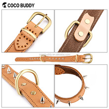 New brown genuine leather pet dog collar spiked studded 1inch width