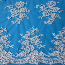 2015 Fashionable 100% cotton beaded French lace fabric/charming beaded tulle lace for wedding dress wholesale