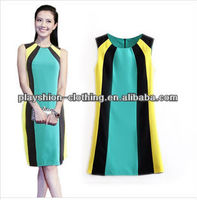 French Connection Celebrity Women Multicolor Slim Sleevess Dress High Quality Dress