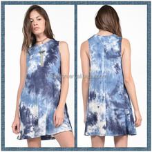 2015 New Arrival Fashion Plus Size Mini Dress For Tie dye